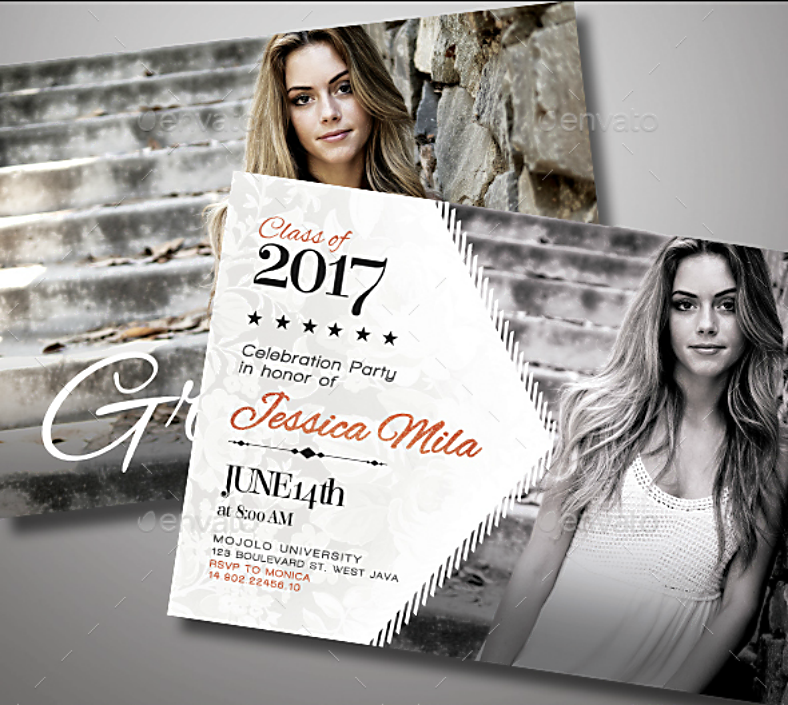 Modern Graduation Party Announcement Card