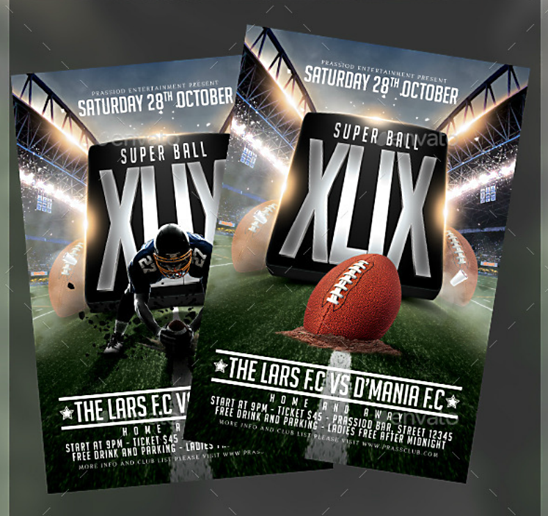 Modern Metallic Super Bowl Flyer Template