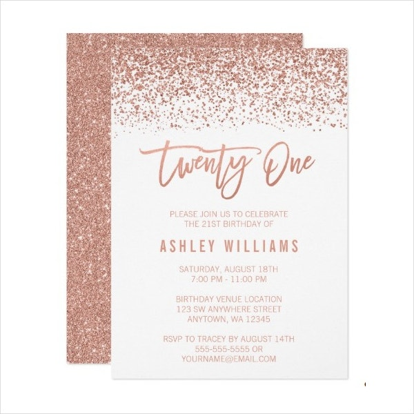 Modern Rose Gold 21st Birthday Card