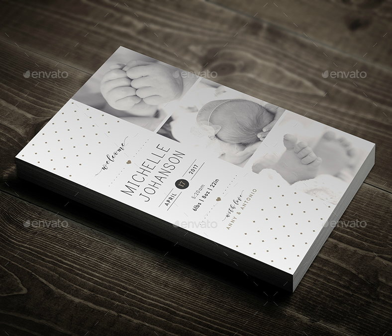 Monochrome Baby Party Announcement Card
