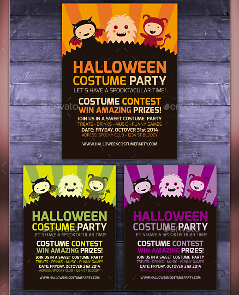 monster costume halloween party invitation template 788x970