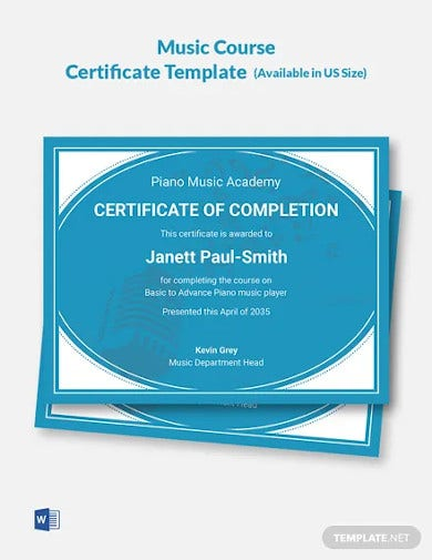 music course certificate template