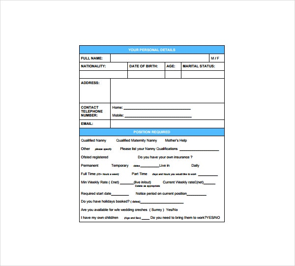 Nanny Application Form Sample