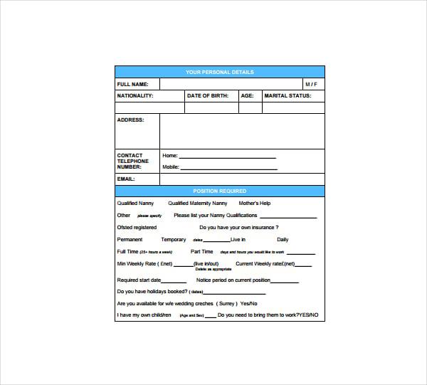nanny application form sample