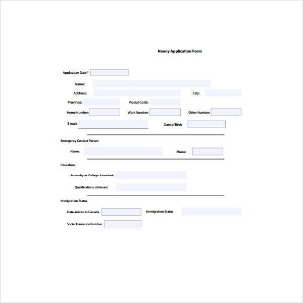 6 nanny application form templates pdf free premium templates