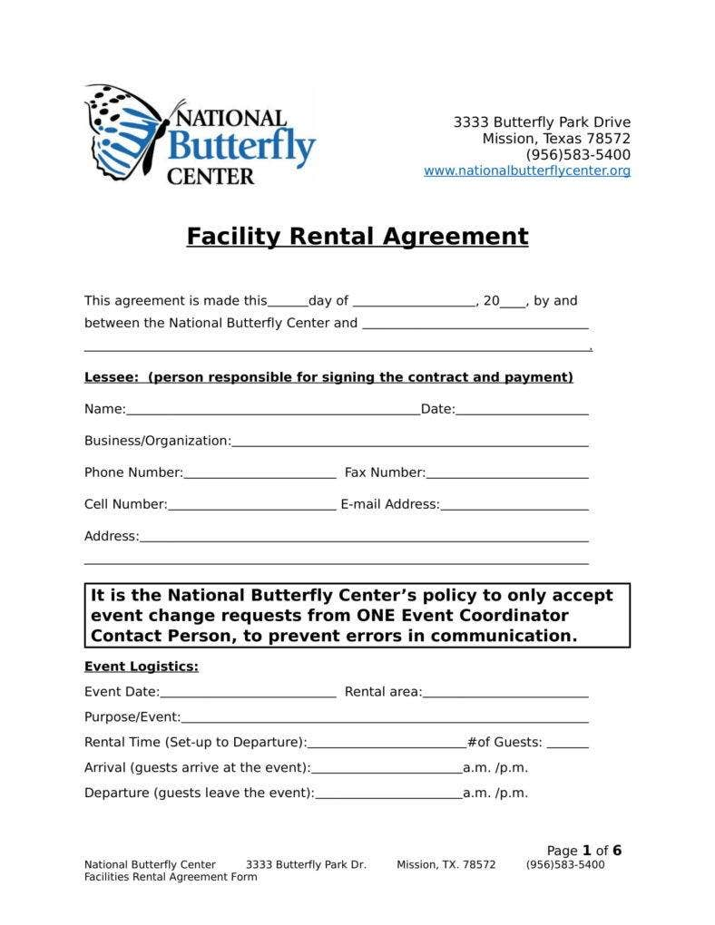 9 Facility Rental Agreement Templates Pdf Free