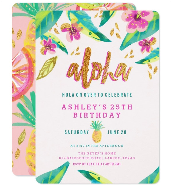 Neat Luau Invitation Template