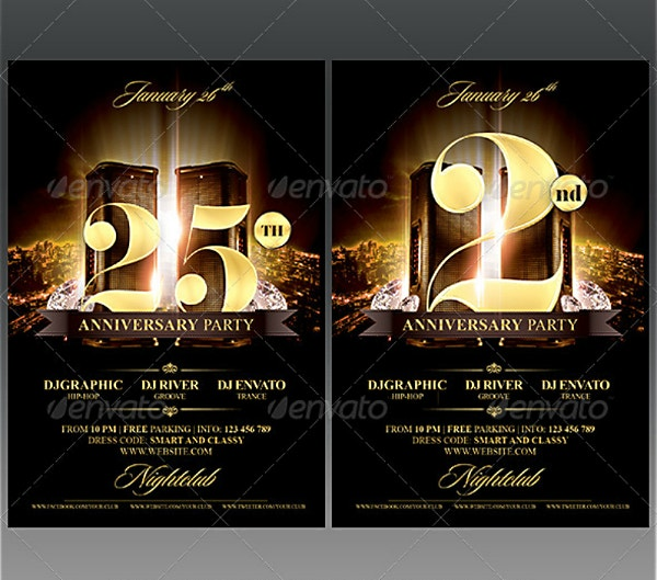 Nightclub Golden Anniversary Birthday Flyer Template
