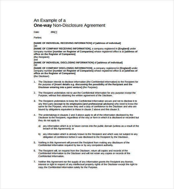 Non-Disclosure Confidentiality Agreement Example