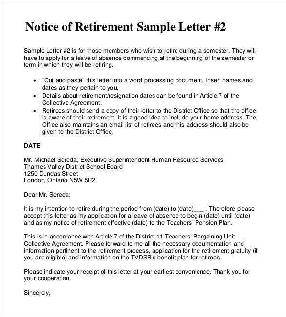 notice of retirement letter of resignation