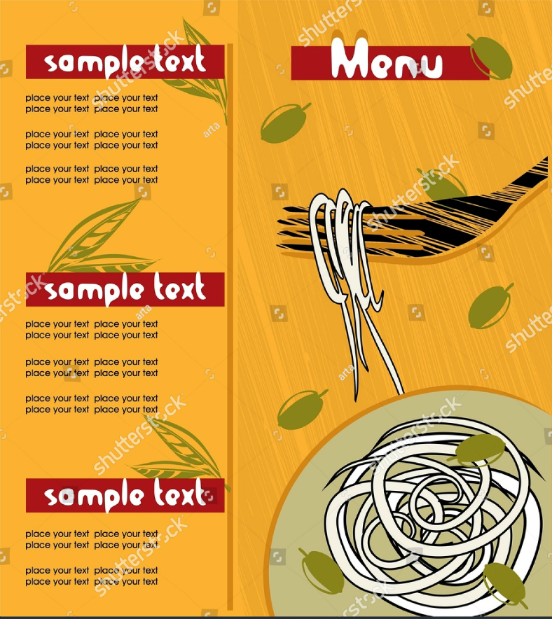 Olives and Herbs Pasta Menu Template
