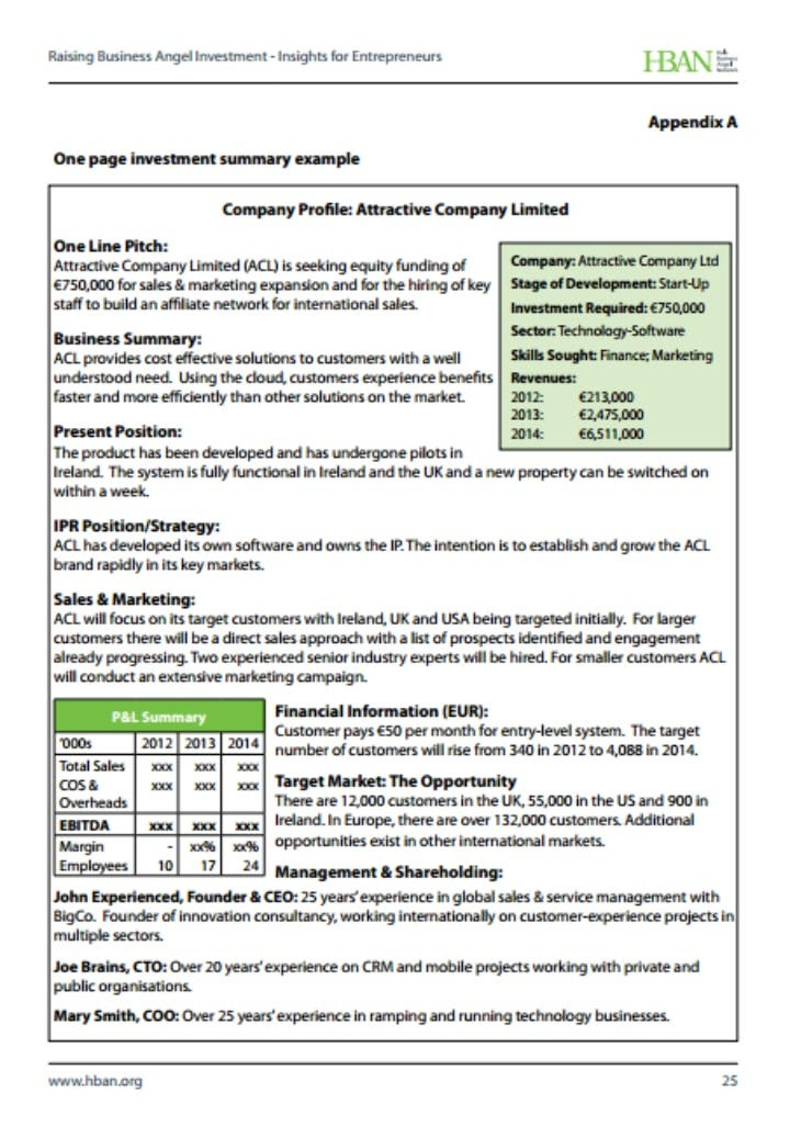 one page investment summary template