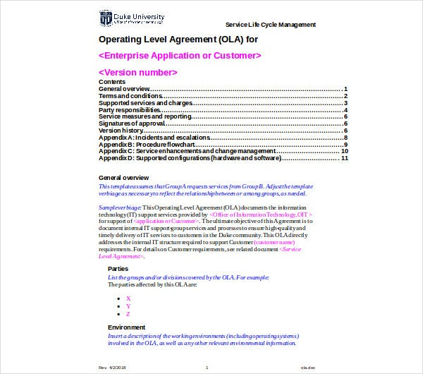 Grundlagen Von Service Level Agreements Sla