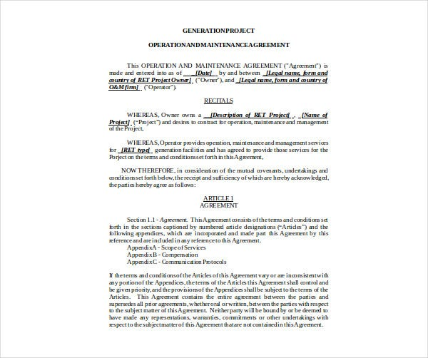 operations maintenance agreement