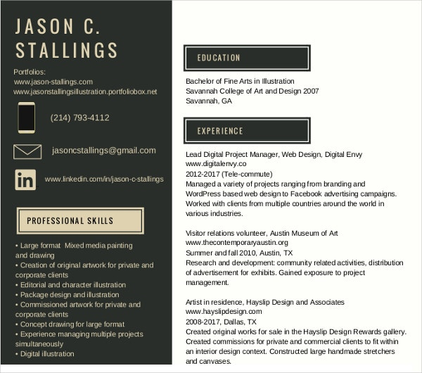painter studio resume template