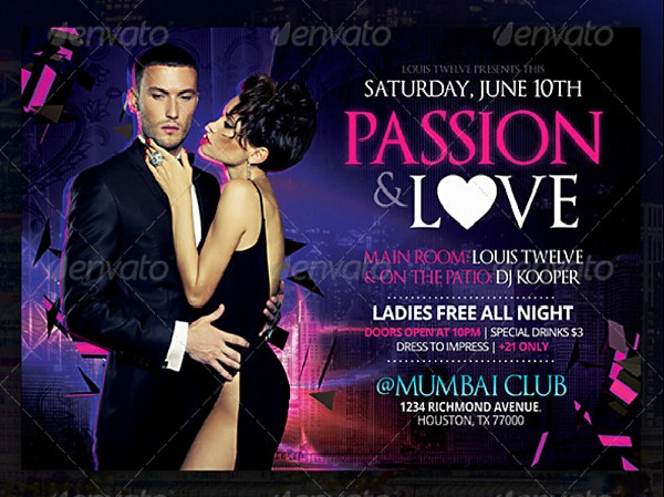 Passionate Club Event Horizontal Flyer Template