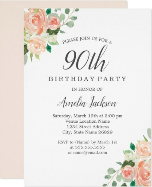 peach blush watercolor floral 90th birthday party card1
