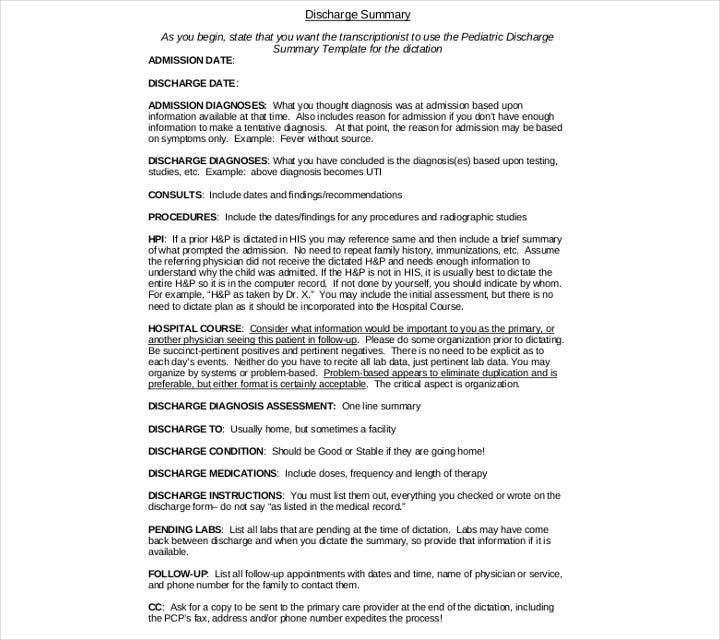 pediatric discharge summary template1