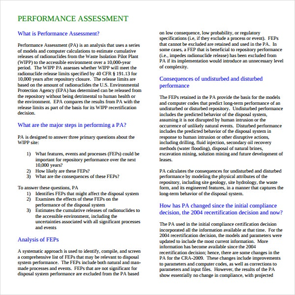 Performance Assessment Example