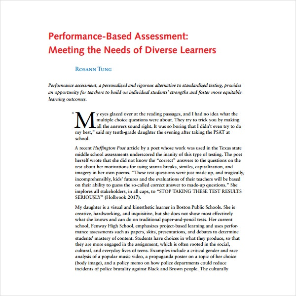 Performance Based Assessment Example
