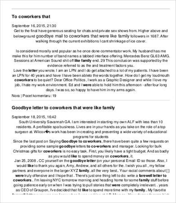 2  farewell retirement letter