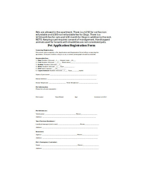 Pet Application/Registration Form