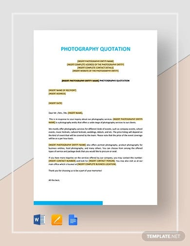 photography quotation template