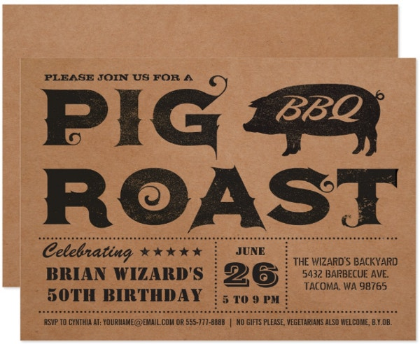 pig roast bbq birthday invitation template