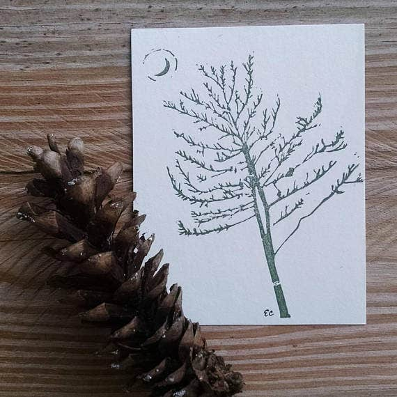 Pine Tree And Moon Lino Greeting Card