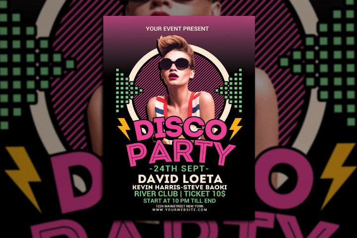 pink-disco-party-night-invitation-template