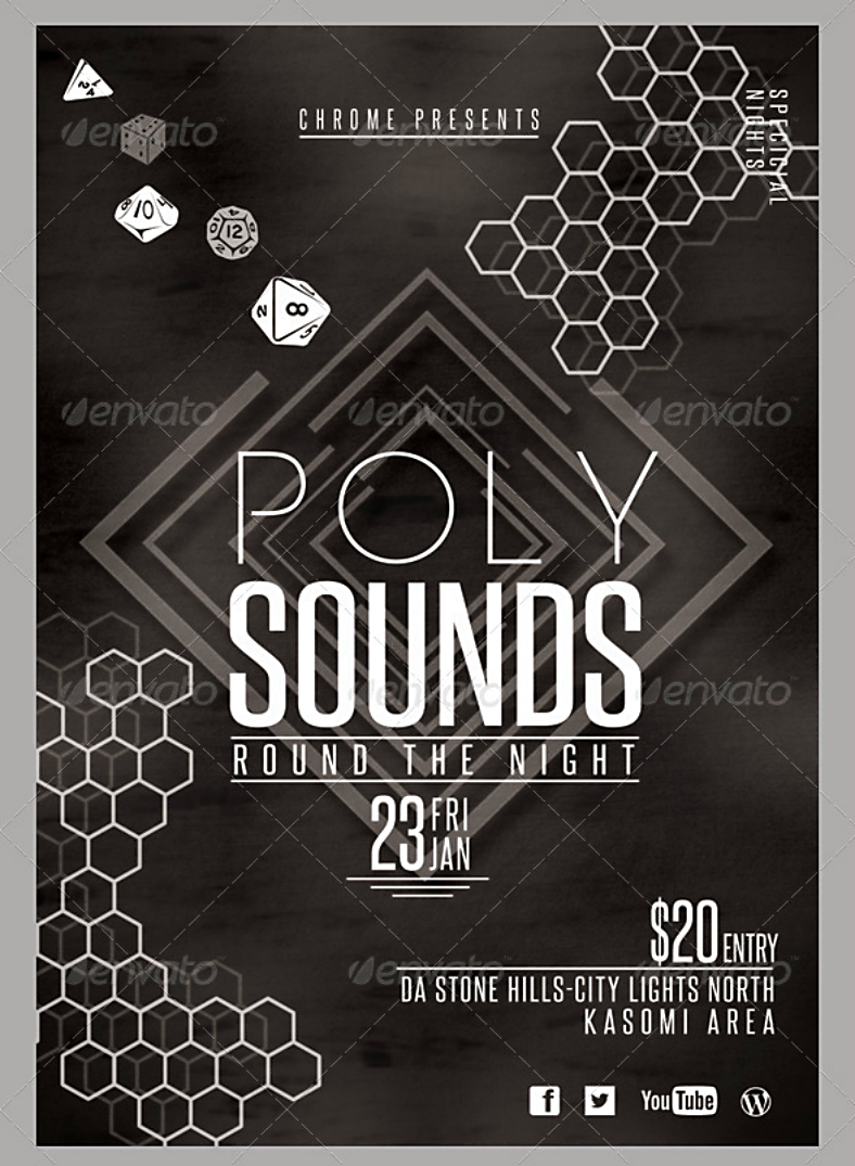Poly Sounds Hexagon Pattern Flyer Template