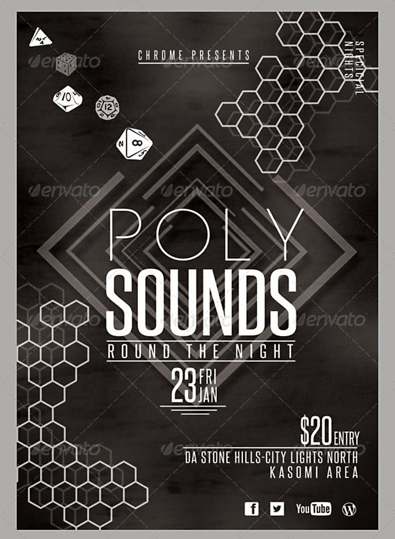poly sounds hexagon pattern flyer template 788x1075