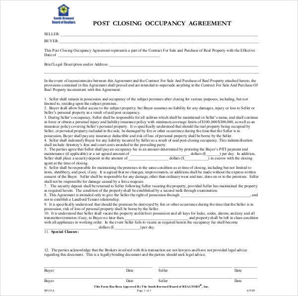 post closing occupancy agreement