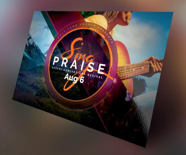 praise gospel concert horizontal flyer template