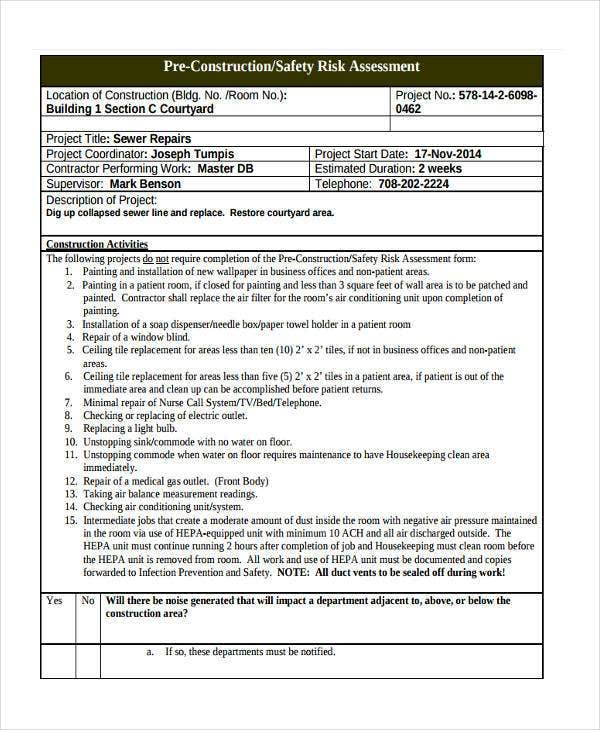 Pre-Construction Risk Assessment Form