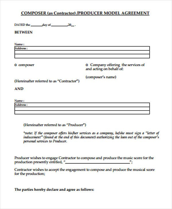 producer contract agreement1