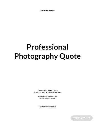 professional photography quotation