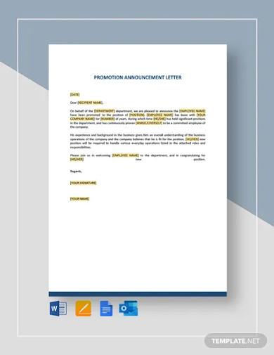 promotion announcement letter template