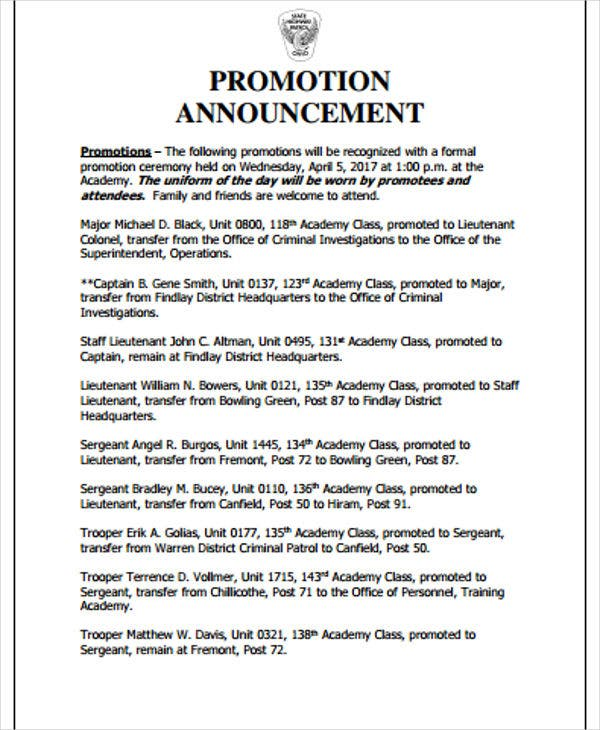 2 promotion announcement templates pdf free premium templates