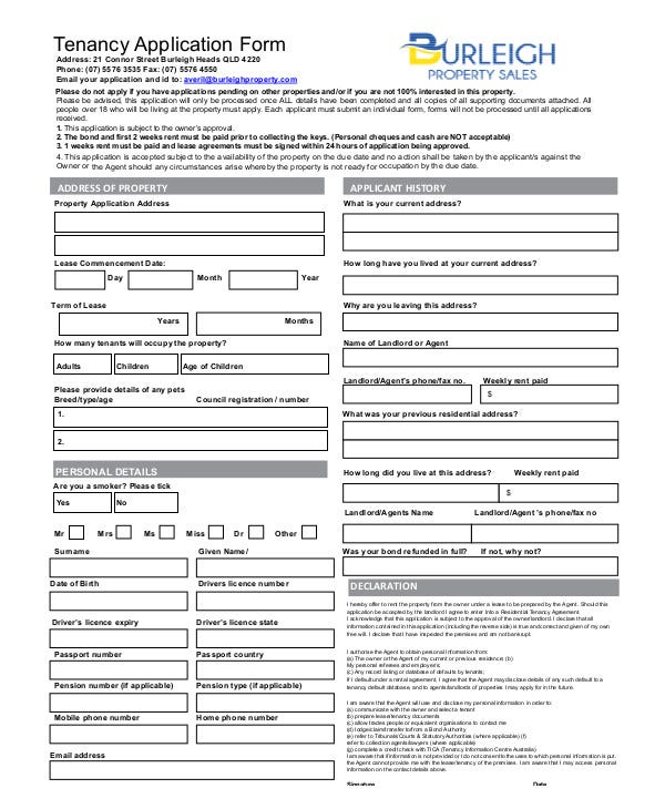 Property Tenancy Application Form