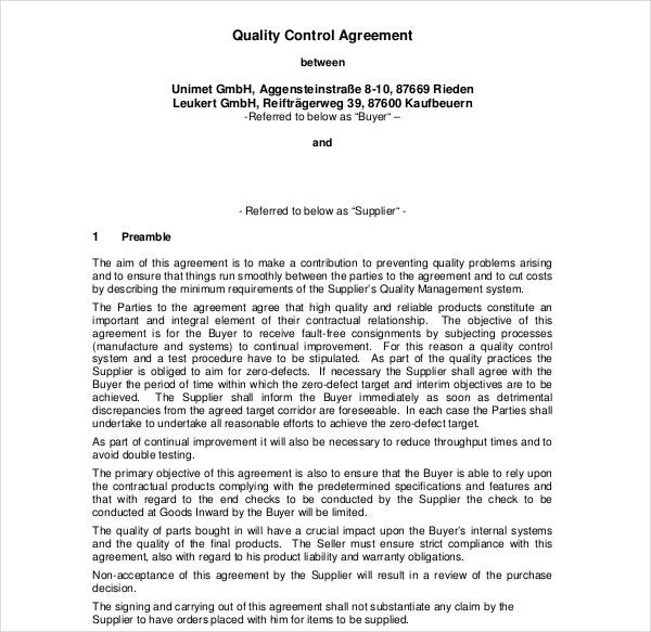 quality control agreement