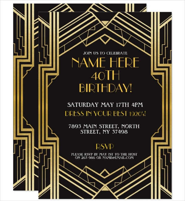 RSVP Art Deco Invitation Template