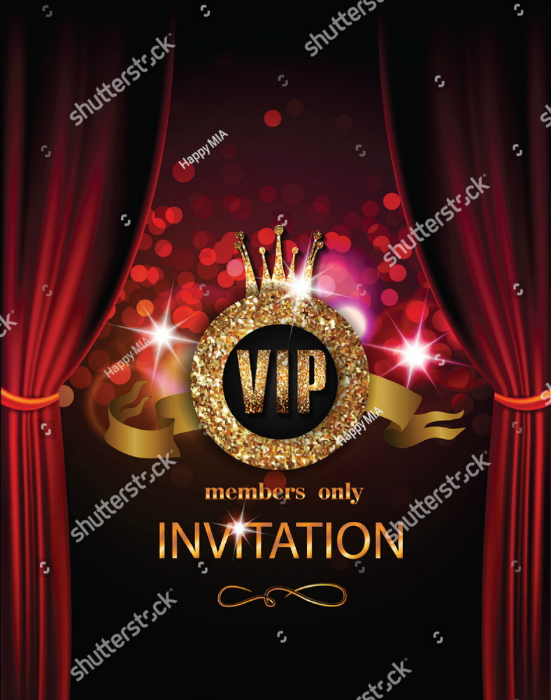 Red Curtain VIP Invitation Template