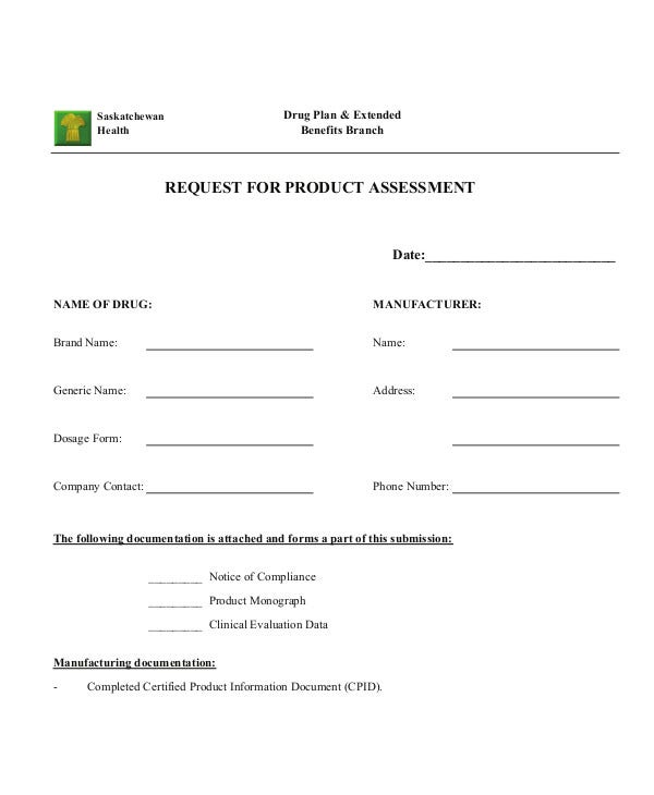 Request for Product Assessment