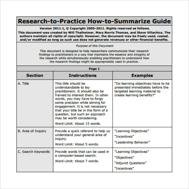 research article summary template