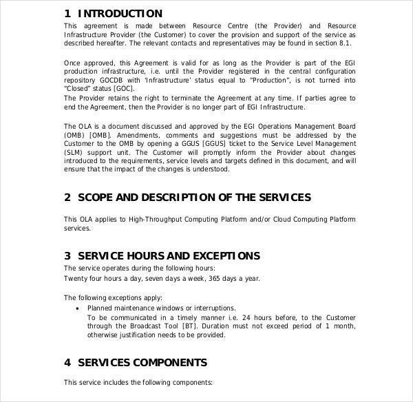 5  operational level agreement templates