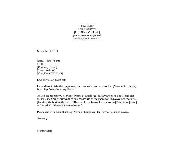 Retirement Announcement Letter Template