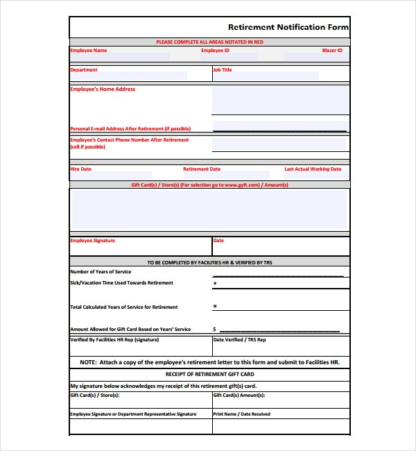 retirement notification form