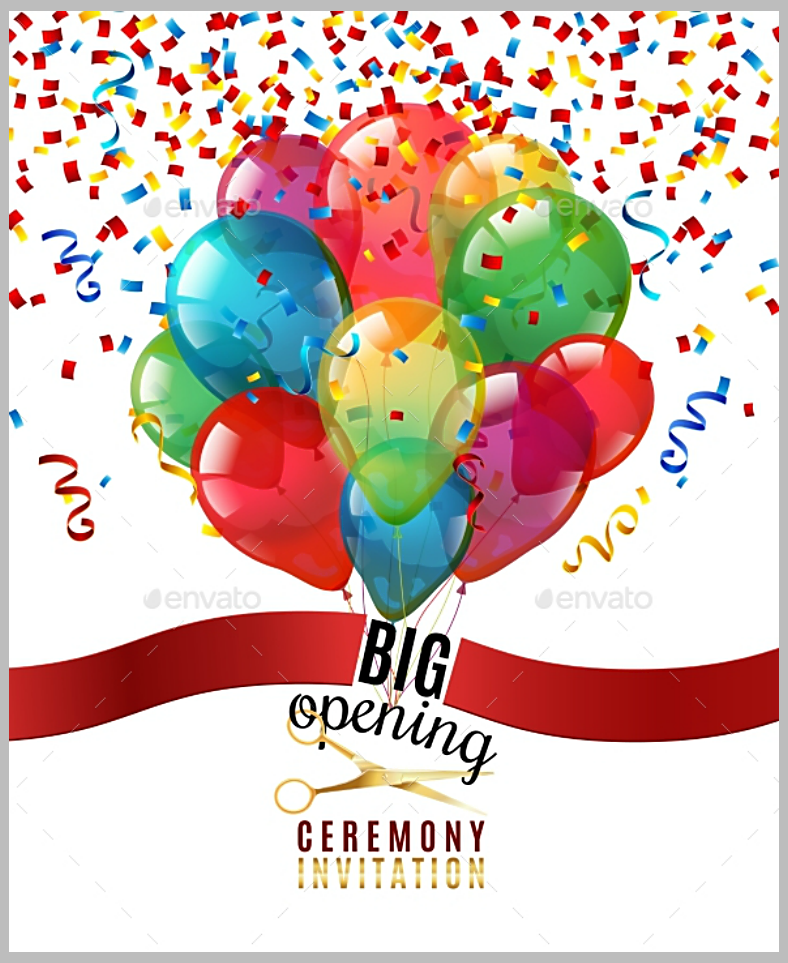 ribbon cutting confetti invitation template 788x963