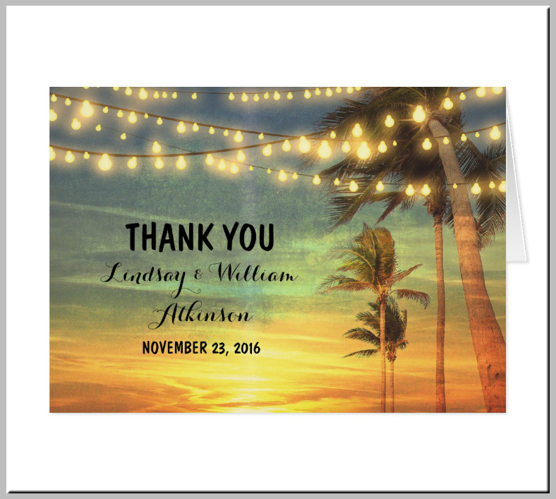 Romantic Beach Lights Thank You Card